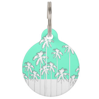 Summer Aqua Teal & White Tropical Palm Trees Pet ID Tag