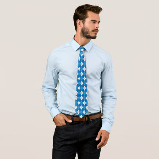 Summer Argyle in Ocean Blue and White Tie