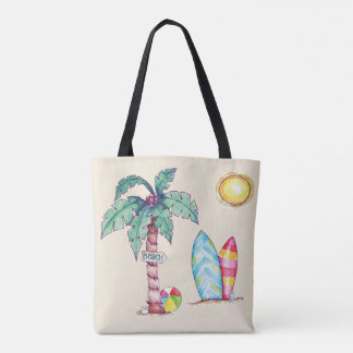 Summer at the Beach Illustrated Tote Bag