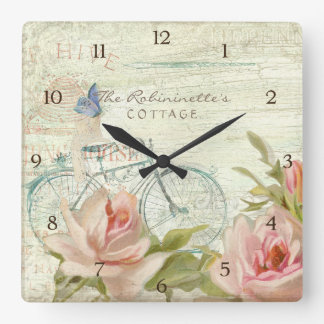 Summer at the Cottage Roses Bicycle Butterfly Bees Square Wall Clock