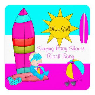 Summer Baby Shower Girl Beach Baby Surfing Baby 4 Card