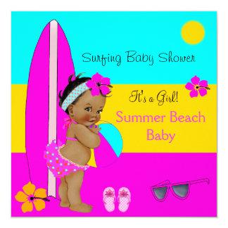 Summer Baby Shower Girl Beach Baby Surfing Ethnic Card