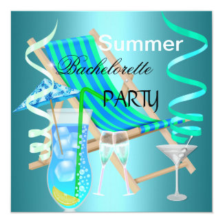 Summer Bachelorette Party Teal Blue Cool Drinks 13 Cm X 13 Cm Square Invitation Card