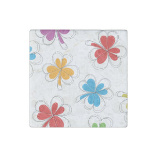 Summer Background Clover Leaf Stone Magnet