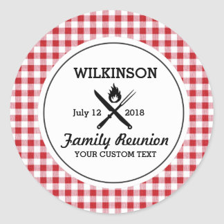 Summer BBQ Grill Cookout Reunion Red Gingham Check Round Sticker