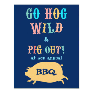 Summer BBQ Pig Out Party Card
