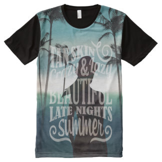Summer beach background with lettering t-shirts
