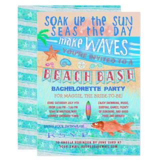 Summer Beach Bash Bachelorette Fish Surf Swim Fun Card