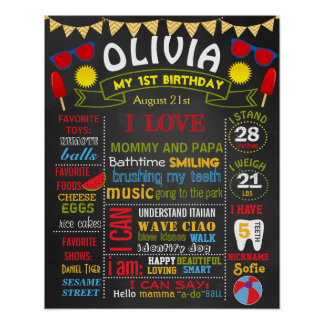 Summer beach birthday party chalkboard baby girl poster