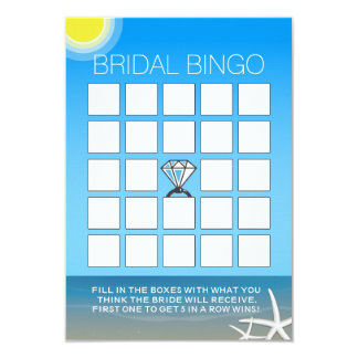 Summer Beach Bridal Shower Bingo Cards