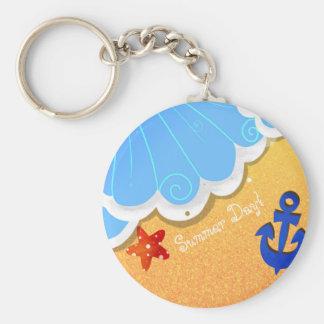 Summer Beach button keychain