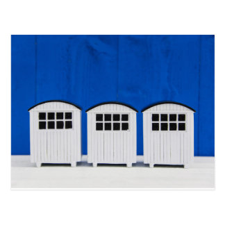 Summer Beach cabins in blue and white Postcard
