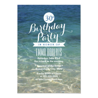 Summer Beach Clean Sand & Sea Water Birthday Party Card