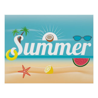 Summer Beach Colorful Illustration Poster