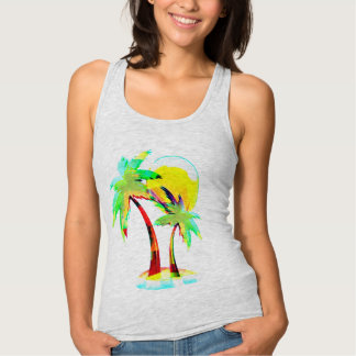 summer beach colorful palm trees tank-top design singlet