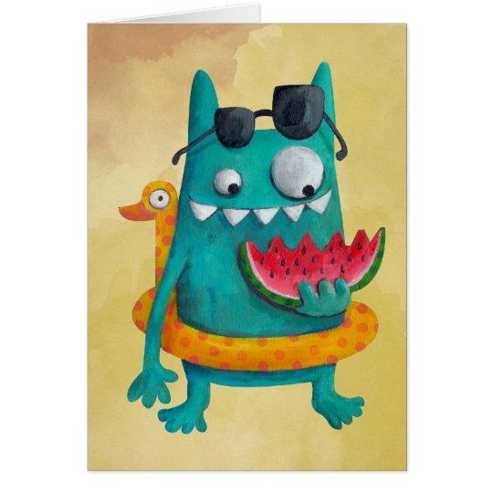 Summer Beach Monster Card