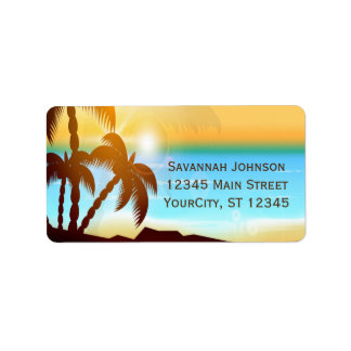 Summer Beach Palm Trees Custom Address Labels