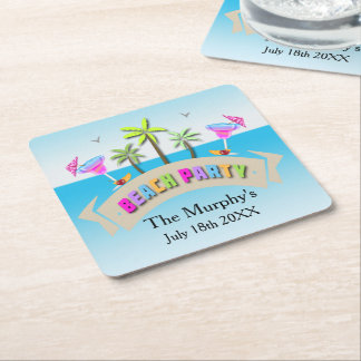Summer Beach Party Drink Coasters