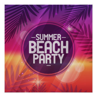 Summer Beach Party Night Poster