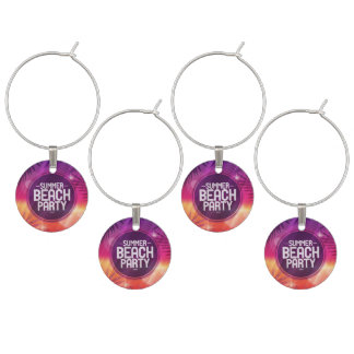 Summer Beach Party Night Wine Charms