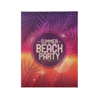 Summer Beach Party Night Wood Poster