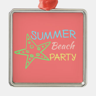 Summer Beach Party Pretty Pastels Silver-Colored Square Decoration