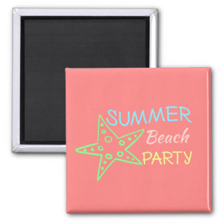 Summer Beach Party Pretty Pastels Square Magnet