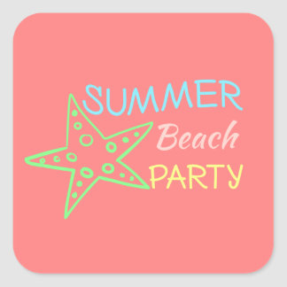 Summer Beach Party Pretty Pastels Square Sticker