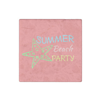 Summer Beach Party Pretty Pastels Stone Magnet
