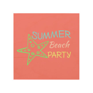 Summer Beach Party Pretty Pastels Wood Wall Art