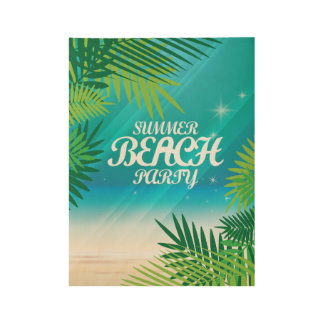Summer Beach Party Wood Poster