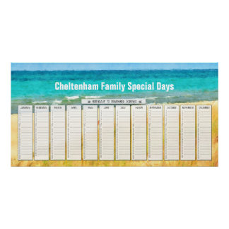 Summer Beach Perpetual Birthday Calendar Poster