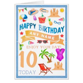 Summer Beach Personalised Birthday Card