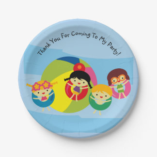 Summer Beach Pool Party Birthday Paper Plate