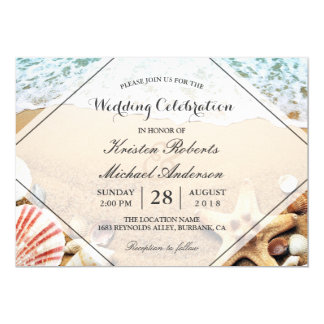 Summer Beach Starfish Seashell Wedding Celebration 13 Cm X 18 Cm Invitation Card