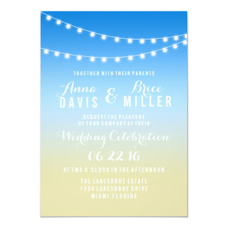 Summer Beach String Light Wedding Invites