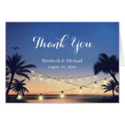 Summer Beach Sunset String Lights Thank You Card