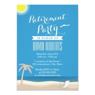 Summer Beach Theme Retirement Party Invitations