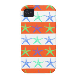 Summer Beach Theme Starfish on Orange Stripes Case-Mate iPhone 4 Cover
