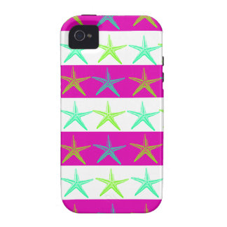 Summer Beach Theme Starfish on Purple Stripes iPhone 4/4S Case