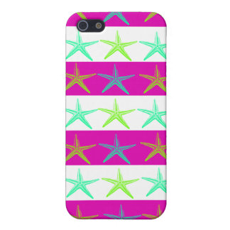 Summer Beach Theme Starfish on Purple Stripes Cover For iPhone 5/5S