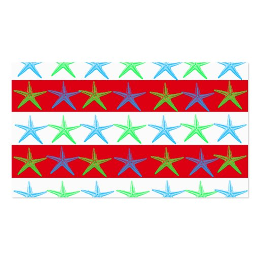 Summer Beach Theme Starfish on Red Striped Pattern Business Cards