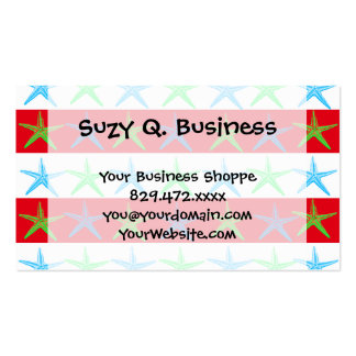 Summer Beach Theme Starfish on Red Striped Pattern Double-Sided Standard Business Cards (Pack Of 100)
