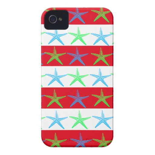 Summer Beach Theme Starfish on Red Striped Pattern iPhone 4 Case