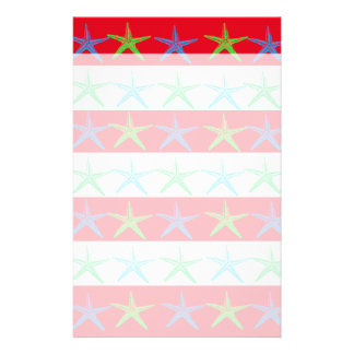 Summer Beach Theme Starfish on Red Striped Pattern Stationery Paper