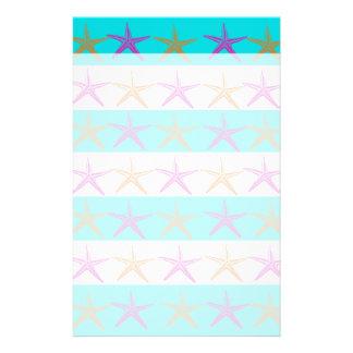 Summer Beach Theme Starfish on Teal Stripes Stationery