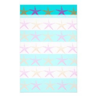 Summer Beach Theme Starfish on Teal Stripes Stationery Paper