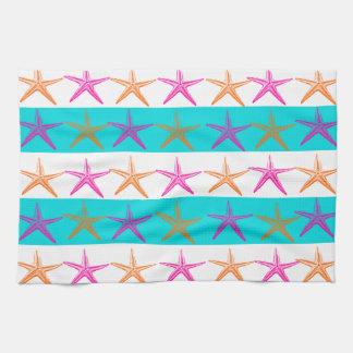 Summer Beach Theme Starfish on Teal Stripes Tea Towel
