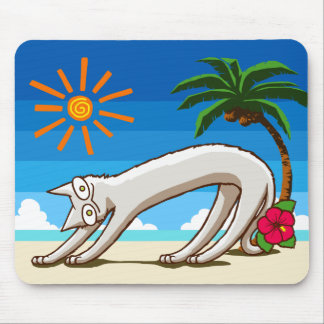 Summer Beach Tropical Cat Mouse Pad
