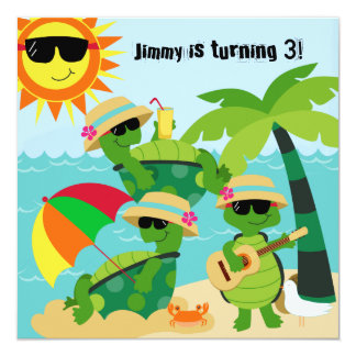Summer Beach Turtles Swimming Birthday Invitation